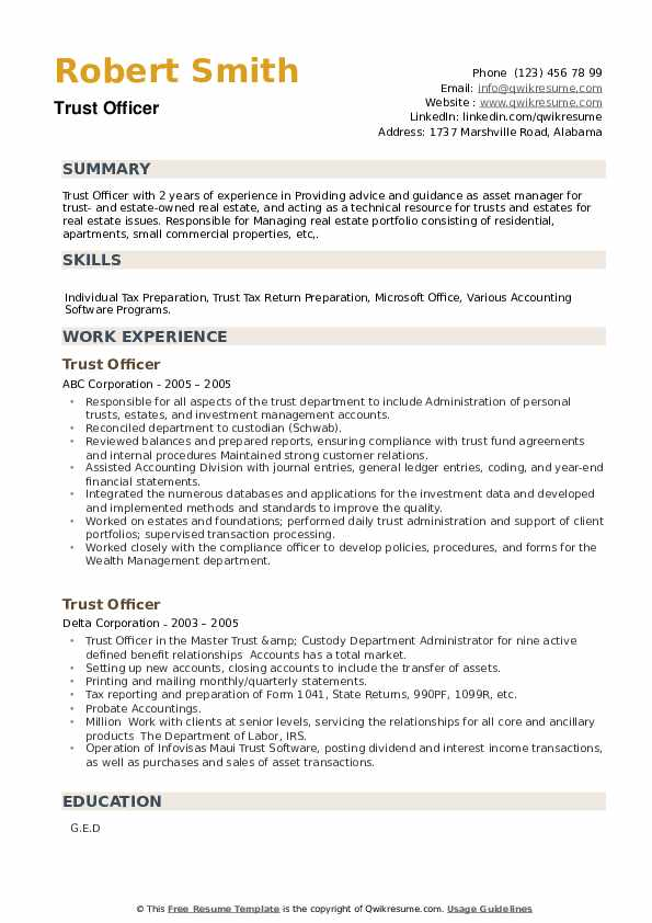 Trust Officer Resume example