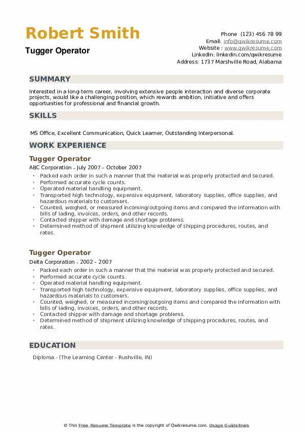 Tugger Operator Resume example