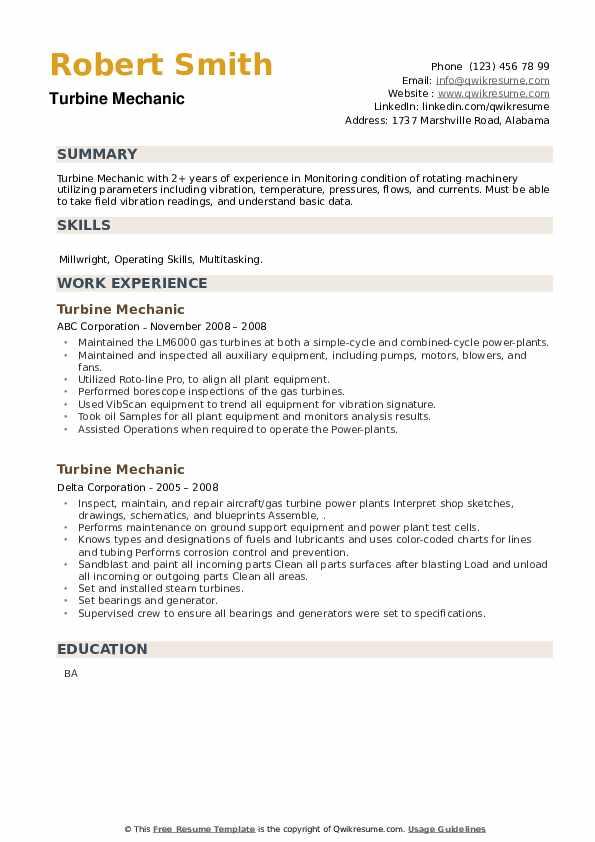 Turbine Mechanic Resume example