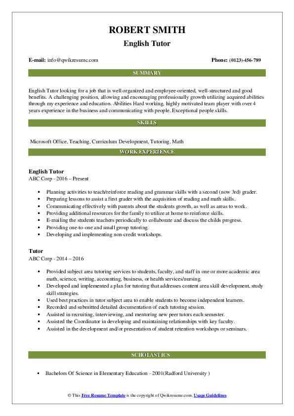 English Tutor Resume Template