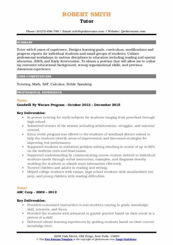 Tutor Resume Model