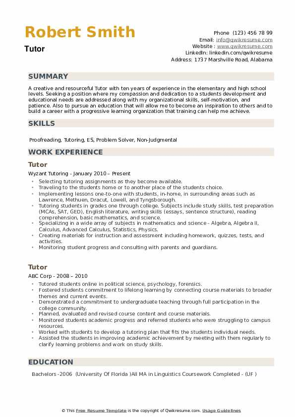 Tutor Resume example