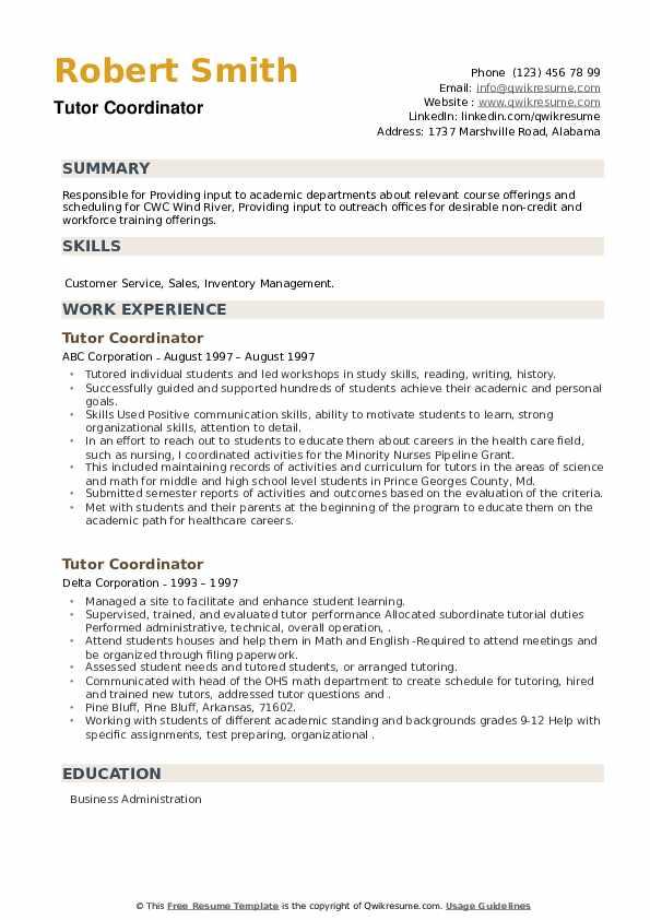 Tutor Coordinator Resume example