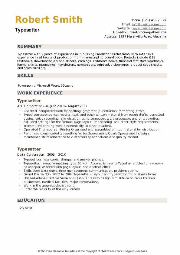 Typesetter Resume example