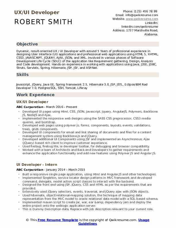 UX/UI Developer Resume Model