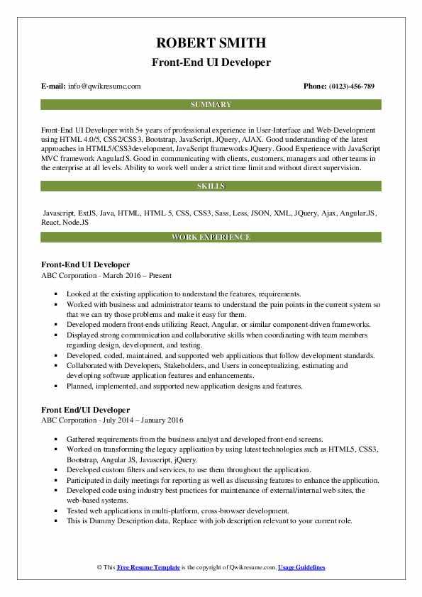 Front-End UI Developer Resume Format