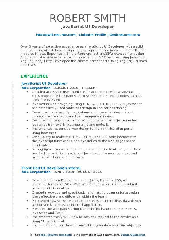 JavaScript UI Developer Resume Format