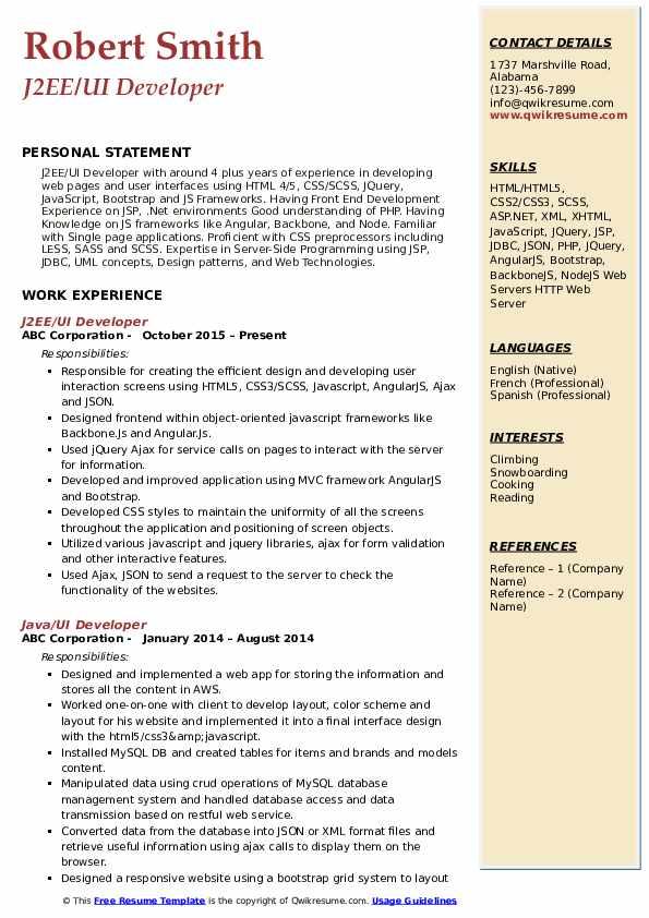 J2EE/UI Developer Resume Format