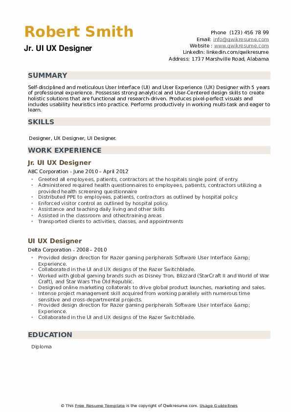 UI UX Designer Resume example