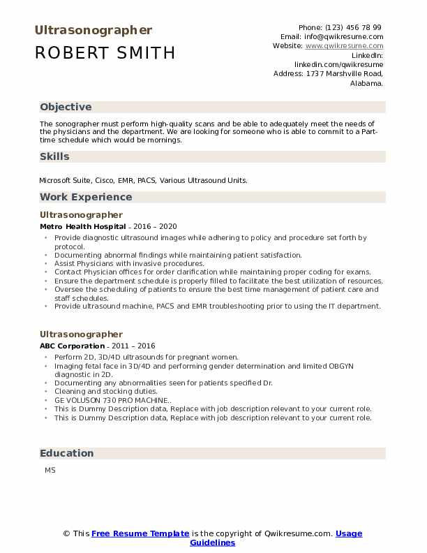 Ultrasonographer Resume example