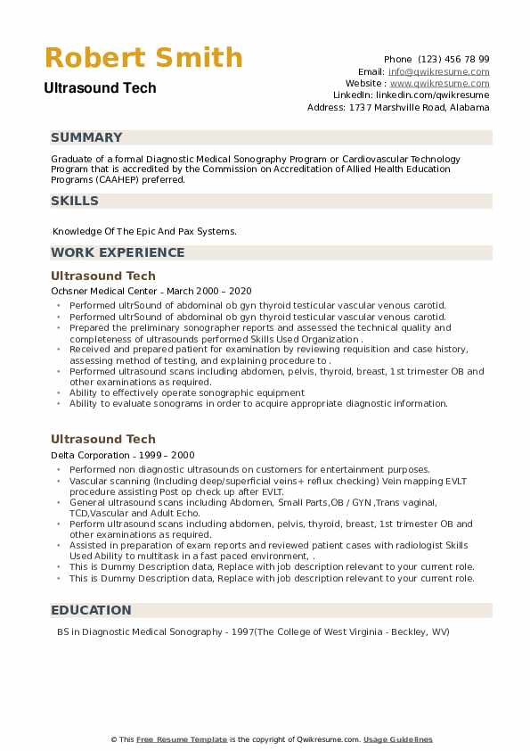 Ultrasound Tech Resume example