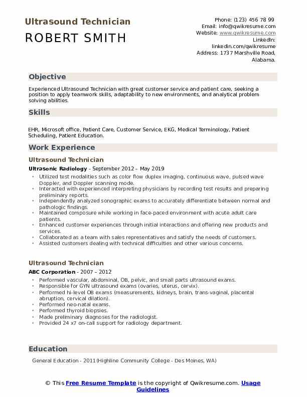 Ultrasound Technician Resume Example