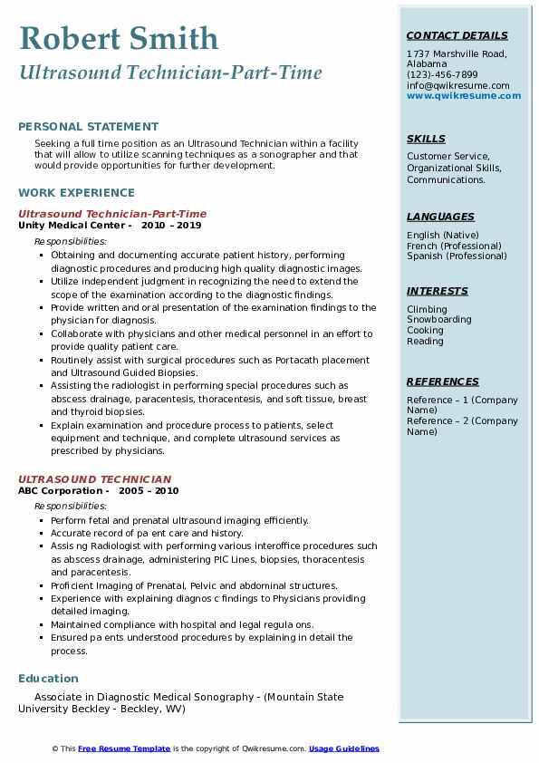 Ultrasound Technician-Part-Time Resume Sample
