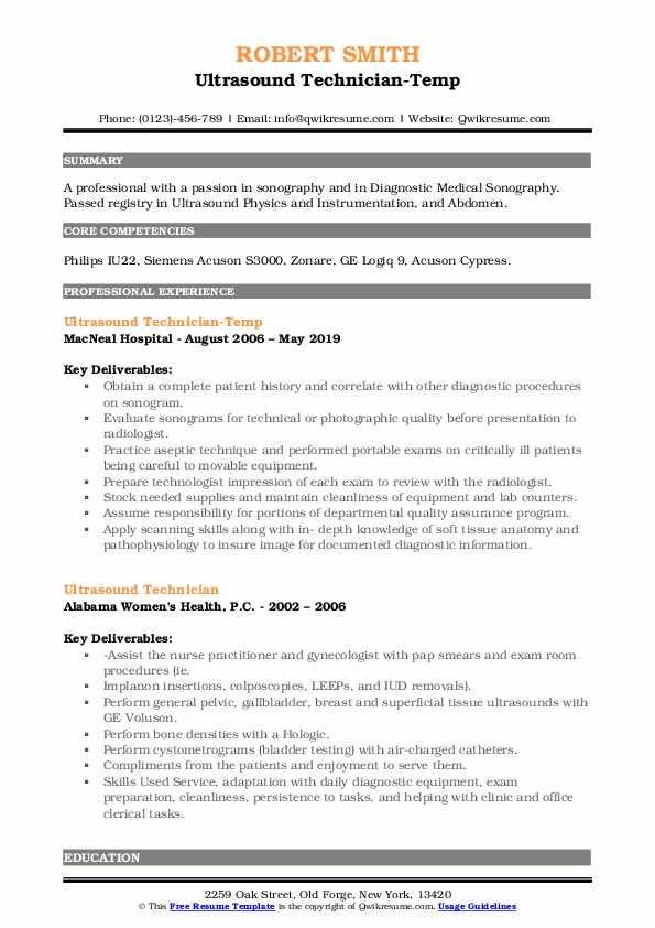 Ultrasound Technician-Temp Resume Format