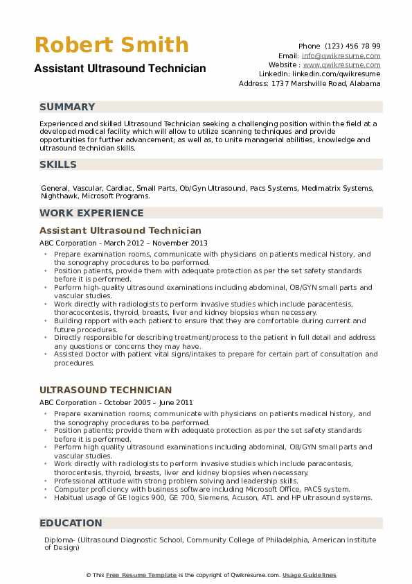 Assistant Ultrasound Technician Resume Template