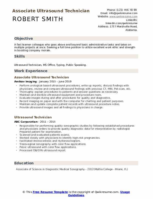 Associate Ultrasound Technician Resume Format