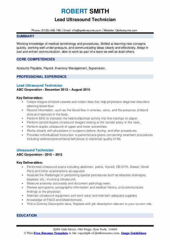 Ultrasound Technician Resume Samples Qwikresume