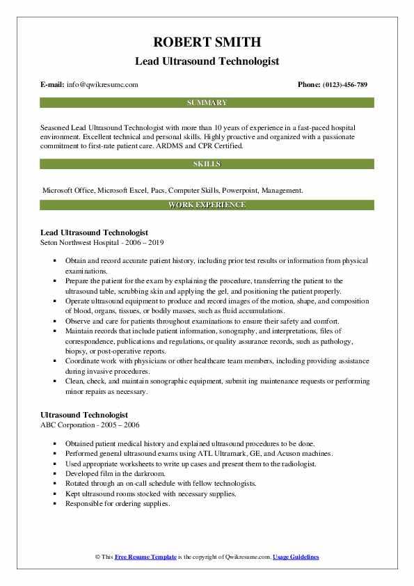 Lead Ultrasound Technologist Resume Model