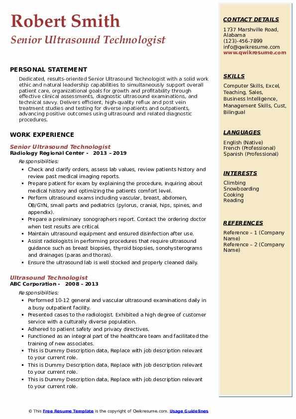 Senior Ultrasound Technologist Resume Model