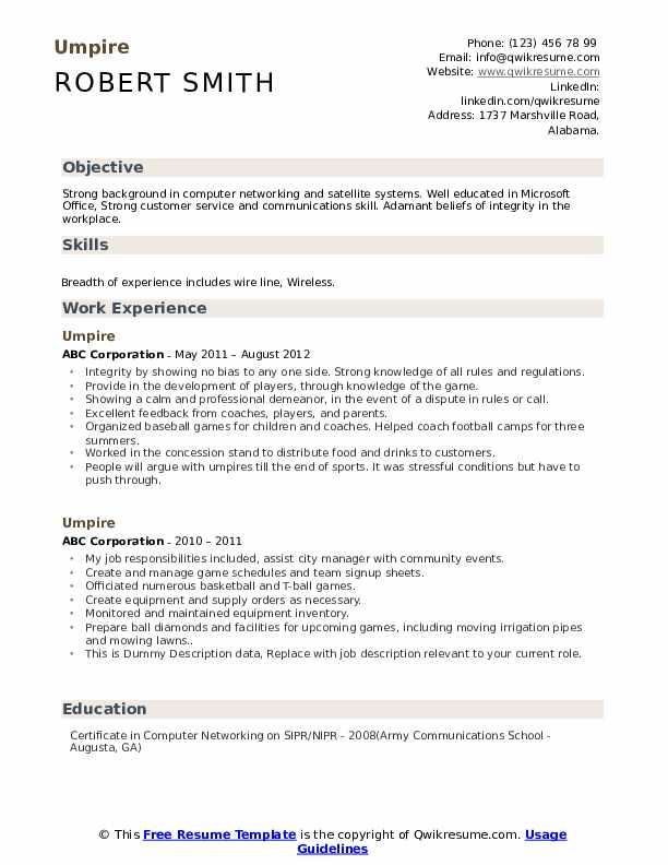 Umpire Resume example