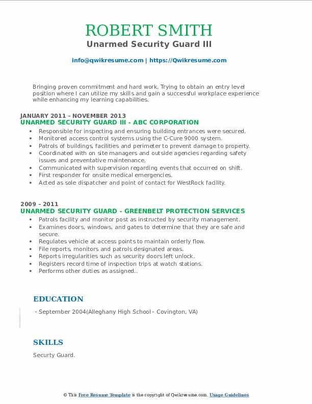 Unarmed Security Guard III Resume Format