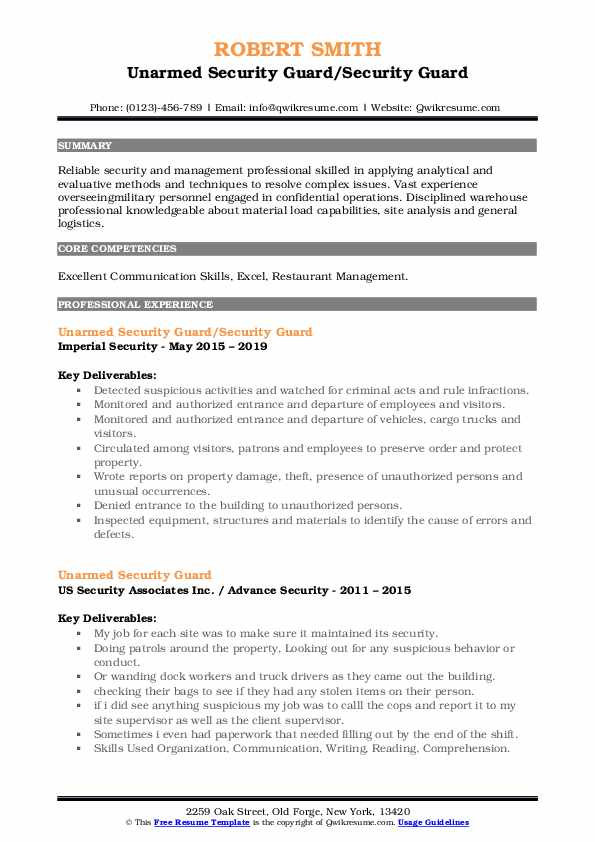 Unarmed Security Guard/Security Guard Resume Sample