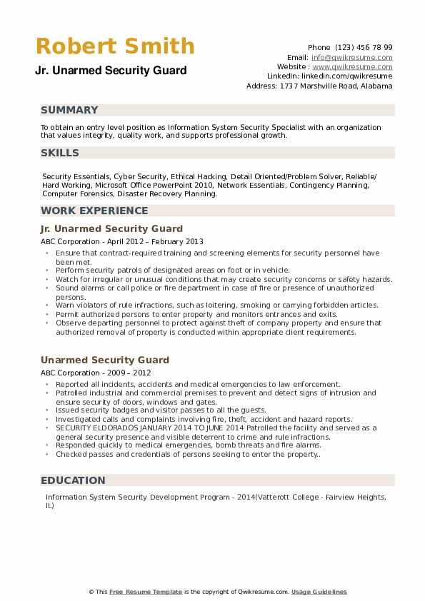 Unarmed Security Guard Resume Samples Qwikresume