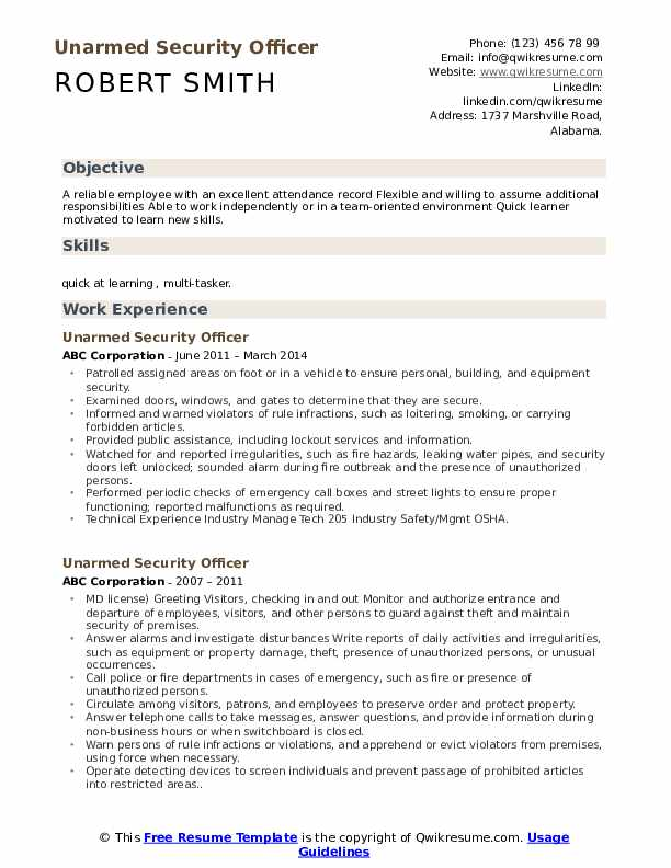 unarmed security officer resume samples