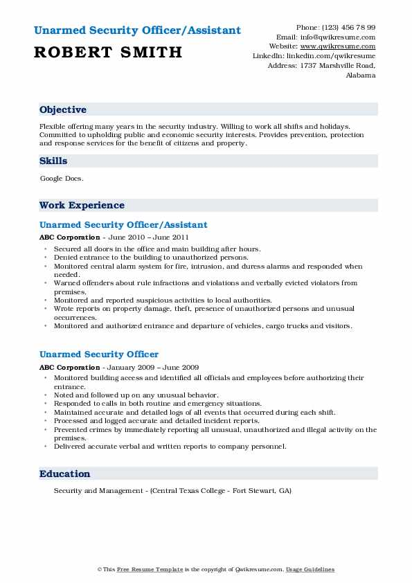 Unarmed Security Officer/Assistant Resume Format