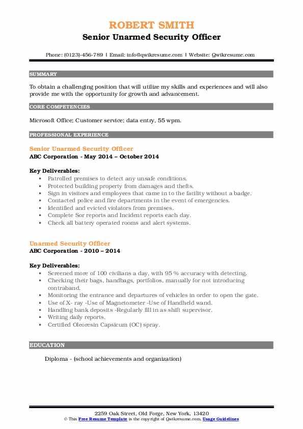 Senior Unarmed Security Officer Resume Model