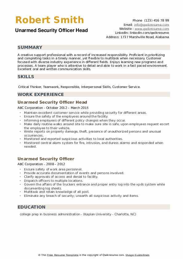 Unarmed Security Officer Head Resume Model
