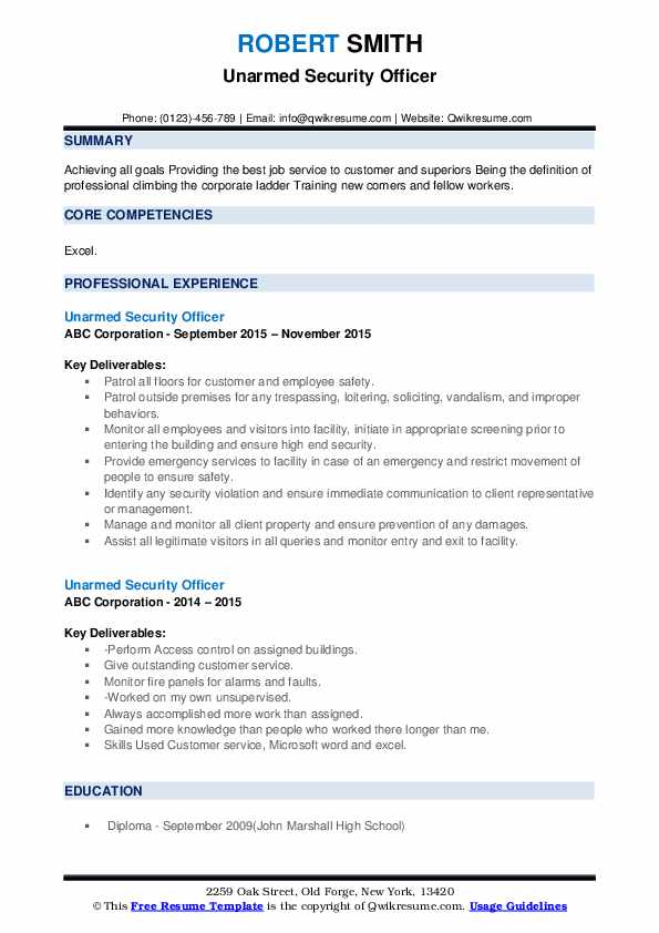 Unarmed Security Officer Resume example