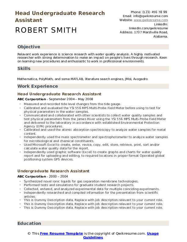 Head Undergraduate Research Assistant Resume Format