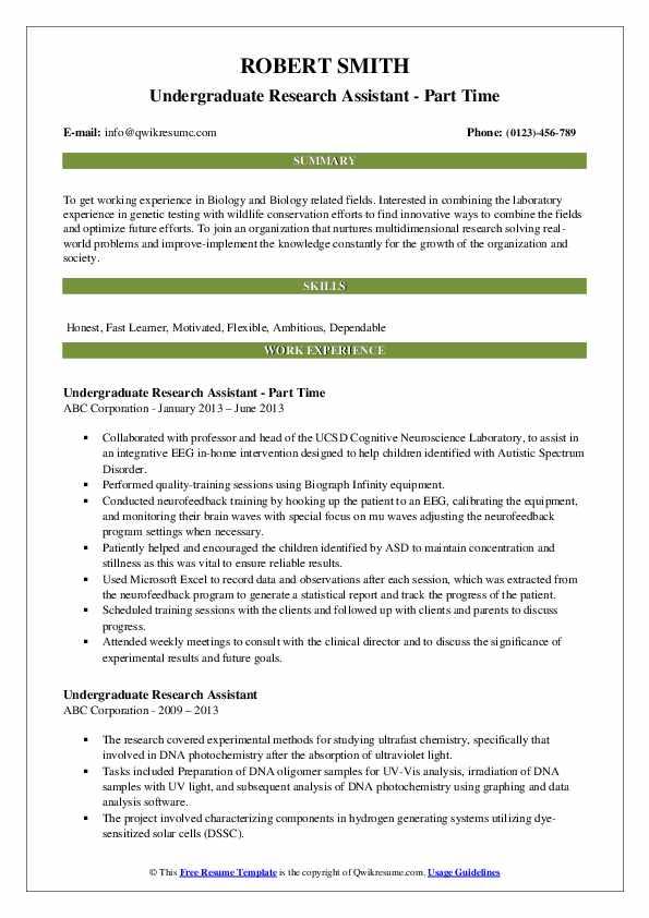Undergraduate Research Assistant - Part Time Resume Model