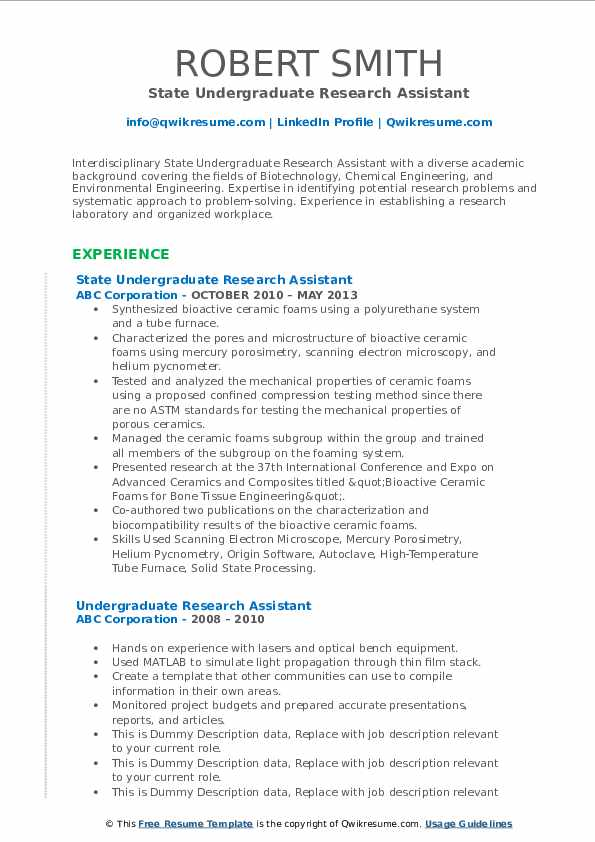 State Undergraduate Research Assistant Resume Template