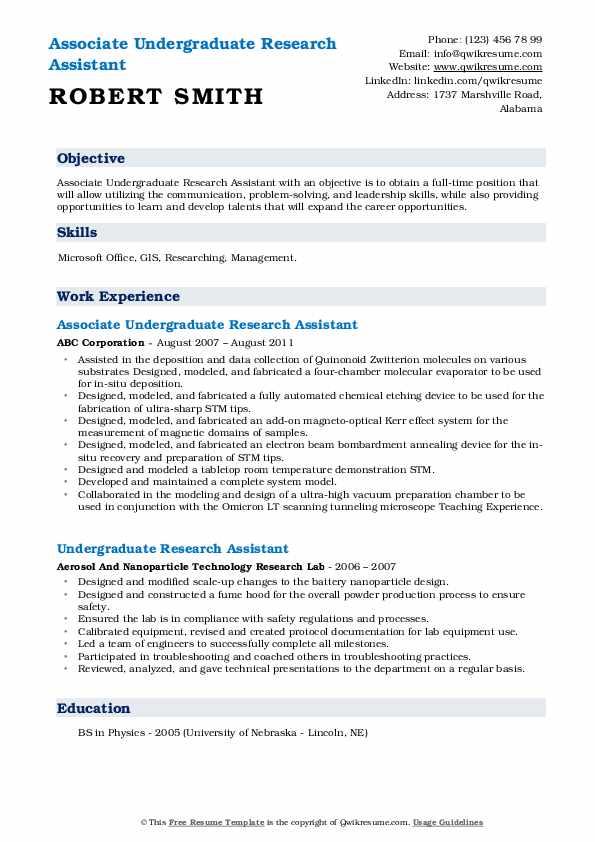 Associate Undergraduate Research Assistant Resume Template