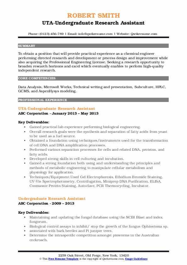 UTA-Undergraduate Research Assistant Resume Example