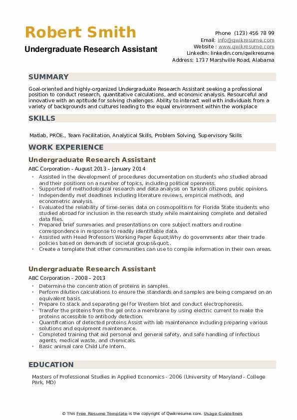 Undergraduate Research Assistant Resume Samples Qwikresume
