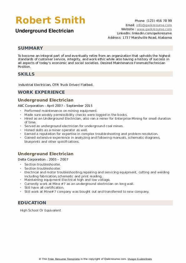 Underground Electrician Resume example