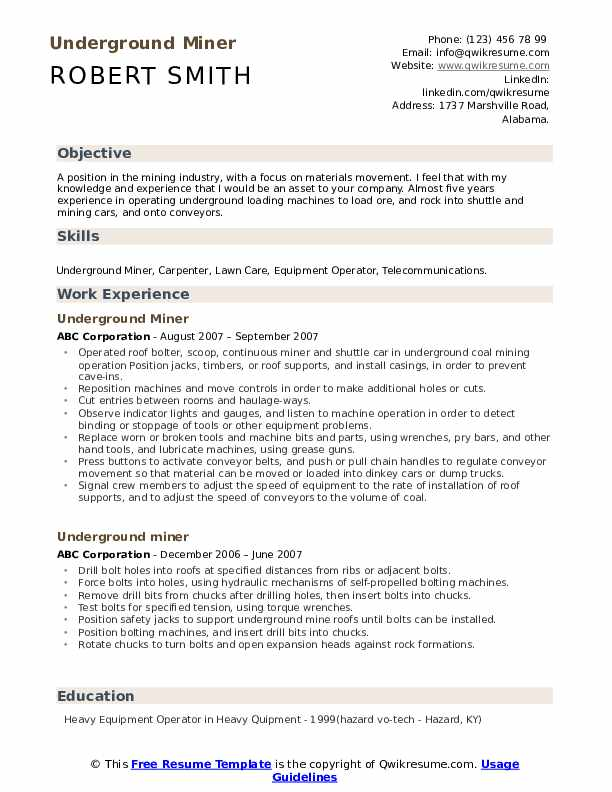 underground miner resume samples