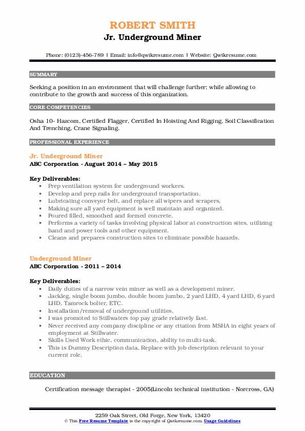 Jr. Underground Miner Resume Model
