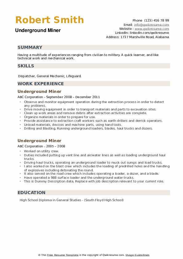 Underground Miner Resume example