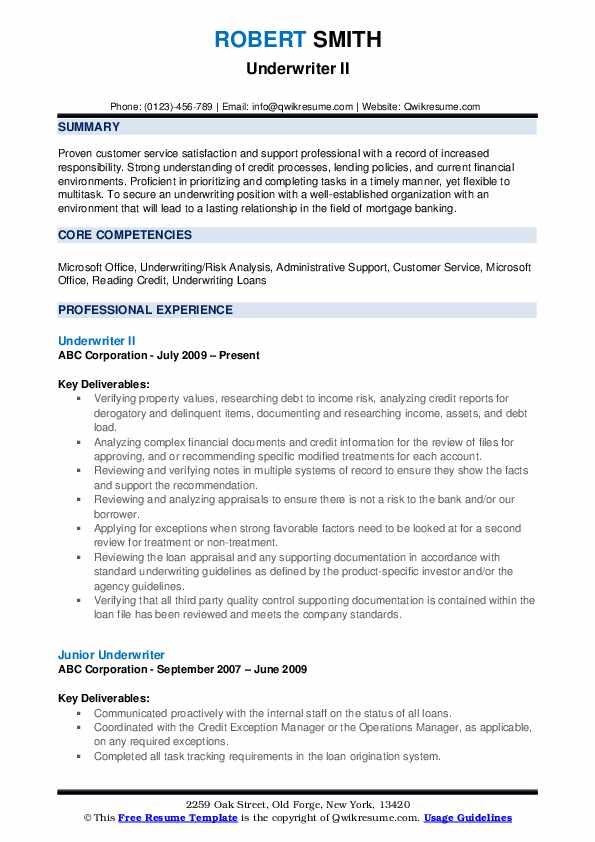 Underwriter II Resume Format