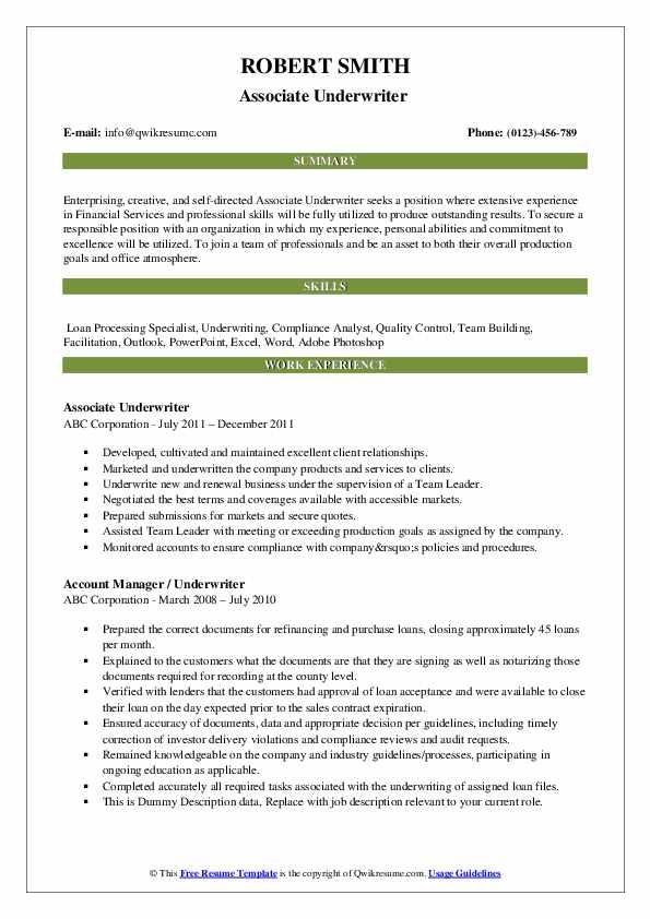 Associate Underwriter  Resume Sample