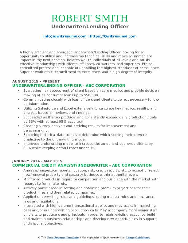 Underwriter/Lending Officer Resume Sample