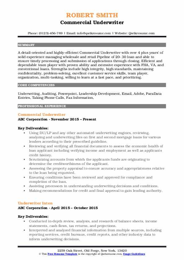 Commercial Underwriter Resume Example