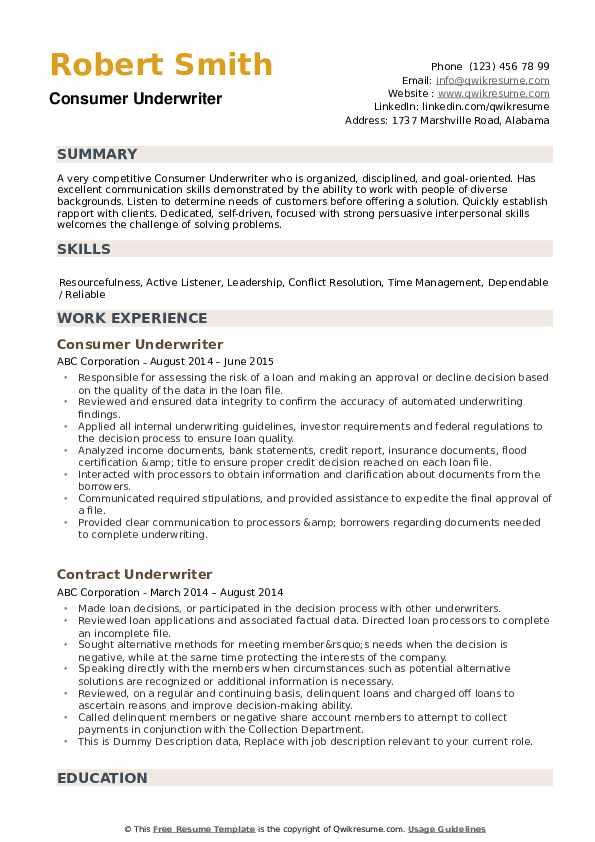 Underwriter Resume example