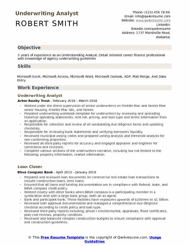 Underwriting Analyst Resume Example