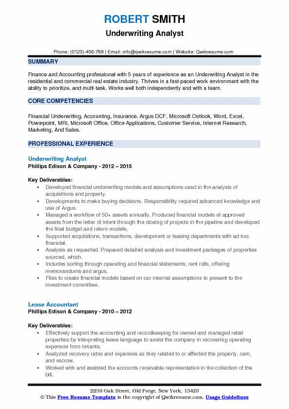 Underwriting Analyst Resume Model