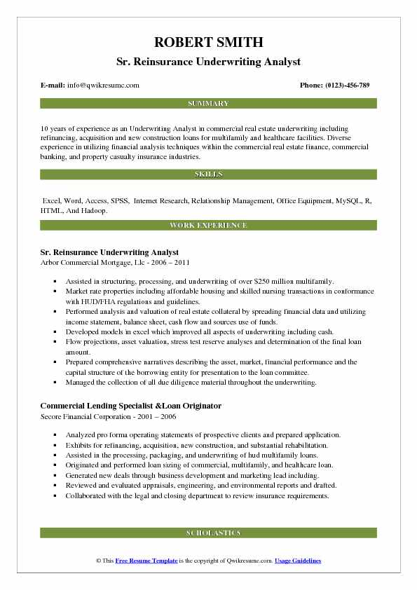 underwriting analyst resume samples